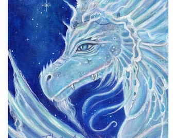 Aceo print  the icy blue dragon Fantasy art  by Renee L. Lavoie