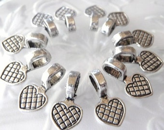 Heart Bails - 100 pcs. -  Antique Tibetan Silver - Lead Free - Nickel Free - Glue On Bails