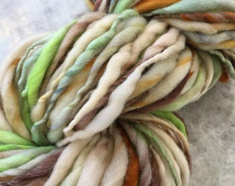 Handspun Yarn Thick and Thin PARAKEET  bulky merino crochet, knit, craft supplies, weaving, doll hair 97yds.
