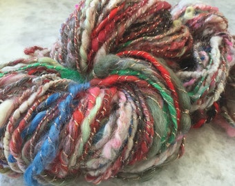 Art Yarn Handspun -MIXED EMOTIONS- Bulky Textured, knit, crochet, craft supplies, weaving, waldorf doll hair 74yds