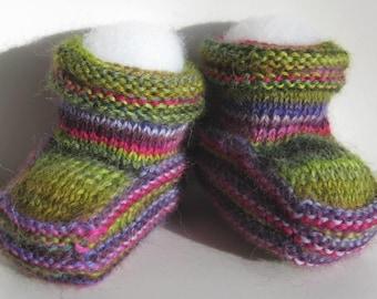 Baby Booties Handknit in Alpaca Blend Yarn - Baby Luxury