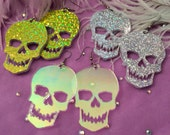 Sweet Skull Acrylic Earrings in Sparkle Green, Silver, or Radiant