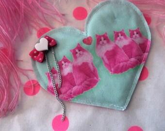 Neon Hot Pink Kitties Fabric Heart Badge