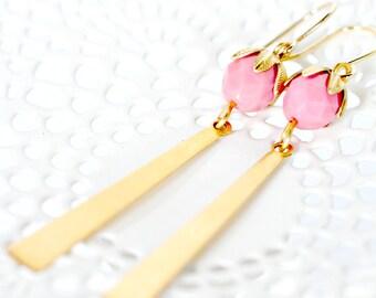 Long Brass Dangle Bar Earrings