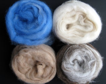 Alpaca Roving Sampler, Blue and White Swirl, White, Fawn, Brown and White Swirl,  1/2 ounce Samples for Spinning, Felting, Gift - 2 ounces