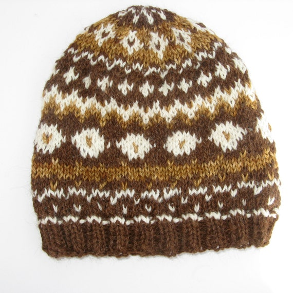 Babies Hats Knitting Patterns : Knit Fair Isle Alpaca and Wool Hat for Men and Women - Natural Brown and Whit...