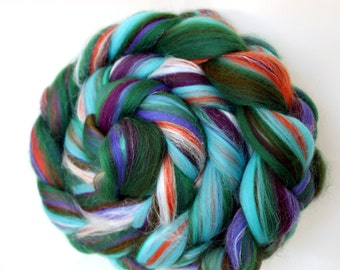 Tropical Punch Merino and Silk Blend Wool Top Roving for Spinning Felting 100g 3.5oz
