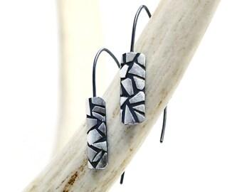Mini Shatter Earrings - Dangle Earrings in Sterling Silver Handmade by Queens Metal
