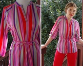 CANDY Stripes 1960's 70's Vintage Fun Striped Red + Pink Poly Blouse with Belt // size Small Med // by Laura MAE