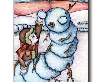 "Postcard based on the painting ""Snowepede"" by Poxodd. 6"" X 4""  Fun and unique winter scene with a kid building a strange snow man"