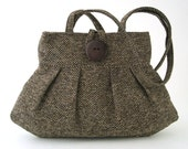 brown shoulder bag- fabric handbag- retro purse- shoulder handbag- brown handbag- small fabric purse- womens handbag