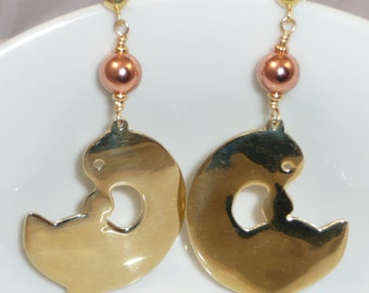 Sankofa - solid brass Sankofa with brass and copper accents and gold-filled posts