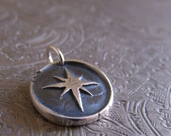 Fine Silver Star Necklace, Wax Seal Jewelry, Star Wax Seal Pendant, Star Jewelry, North Star, Pole Star, Star Necklace, Constellation