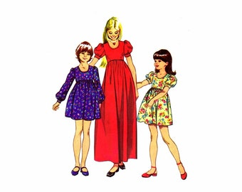 1970s Girls High Waist Dress Simplicity 5386 Vintage Sewing Pattern Size 7 Breast 26