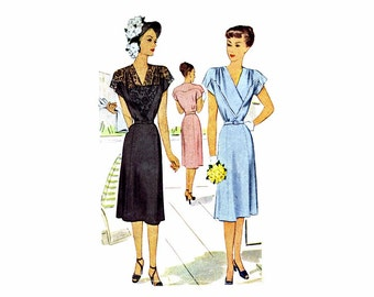 1940s Surplice Flared Dress McCall 6873 Vintage Sewing Pattern Size 16 Bust 34