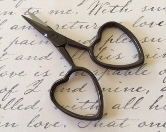dark brown embroidery scissors with heart shaped handles chocolate little love