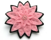 Candy Pink Dahlia Brooch, felt flower brooch