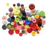 100 Colourful Buttons - C - Plastic Buttons - Rainbow Assortment - Destash
