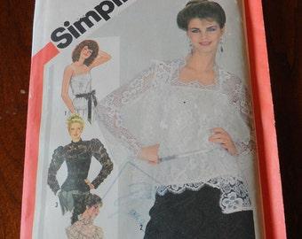 Vintage 80s Simplicity 5324 Romantic Lace Blouse Top Camisole Jacket Sewing Pattern size 12 UNCUT