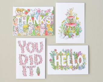 Greeting Card Set of 4 | Pretty & Humorous Illustrations by Marie Gardeski | Thanks / Hello / Birthday / You Did It / Congratulations