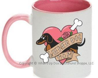 Dachshund Wiener Dog Mom Tattoo Ceramic Coffee Mug / Black & Tan