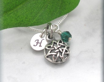 Celtic Knot Personalized Necklace Initial Pendant Birthstone Jewelry Sterling Silver Charm Domes Irish Jewelry (SN876)