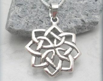 Celtic Necklace, Irish Jewelry, Irish Knot Pendant, Sterling Silver, Graduation Gift, Friendship Jewelry, Celtic Jewelry (SN839)