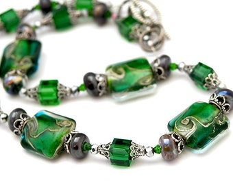 50 PERCENT OFF Green Necklace, Sparkling Lampwork Beads, Swarovski Crystals, Christmas, Holiday Party