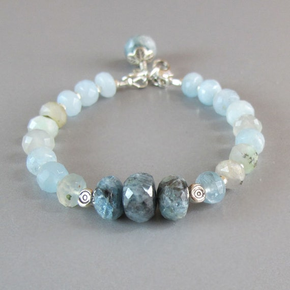 Aquamarine gemstone sterling silver bead bracelet by djstrang for Birthstone beads for jewelry making