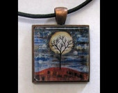 Pendant with Leather Band, Art, Jewelry, Necklace, Print, Karina Keri-Matuszak, Abstract Landscape, Tree, Moon