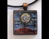 Pendant with Leather Band, Art, Jewelry, Necklace, Print, Karina Keri-Matuszak, Abstract Landscape, Tree, Moon