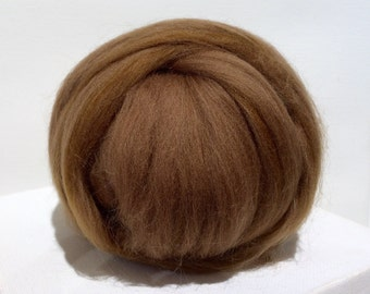 Oak Merino Roving, Needle Felting wool, Spinning Fiber, Merino wool roving, felting wool, oak brown, tan, medium neutral brown