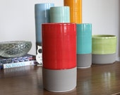 SALE Ceramic Cylinder Vase in Red and Matte Warm Grey - Colorblock Porcelain Vase