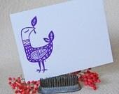 Purple Bird Letterpress Flat Notes