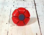 Vintage Red and Blue Flower Button Adjustable Ring