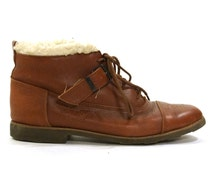 Esprit Lace Up Ankle Boots / Brown Leather with Faux Sheepskin Trim & Buckle Strap / Women's sz 7
