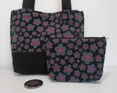 Black and Hot Pink Floral Purse Set