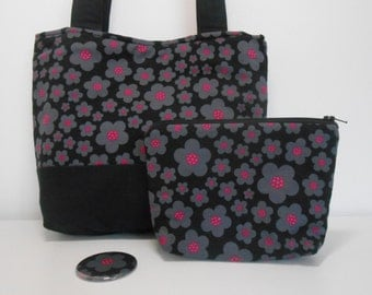 Black Purse Set, Medium Tote Bag with Pockets Cosmetic Bag and Pocket Mirror