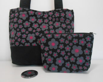 Black and Hot Pink Floral Purse Set Medium Purse with Pockets Cosmetic Bag and Pocket Mirror