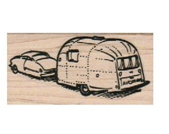 Rubber stamp car pulling  Airstream Trailer camper caravan   scrapbooking supplies 7196 cling stamp, unmounted or wood mounted camper