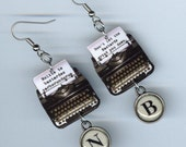 Typewriter Earrings  - Banned books Week - Quote Nolite te bastardes carborundorum The Handmaid's Tale - librarian literary gift