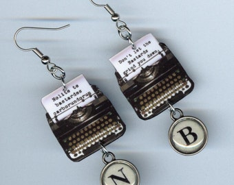 Typewriter Earrings  - Banned books Week - Quote Nolite te bastardes carborundorum The Handmaid's Tale - librarian literary gift