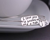 I Love You a Bushel and a Peck Bracelet, Sterling Silver or Gold Nursery Rhyme Jewelry, Mother's Day Gift