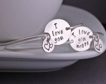 I Love You More Mother Daughter Bracelets, Sterling Silver Mom and Daughter Jewelry Gift Set