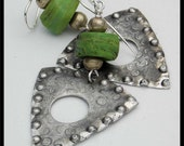 ANCIENT HEBRON - Very Old Hebron Beads - Handforged Pewter Statement Earrings