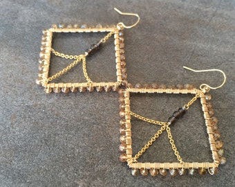 SALE Andalusite, smoky quartz and gold Statement earrings. Now half off of the original price of 135.00.