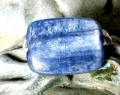 Kyanite and sterling silver wire wrapped ring