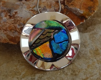 Dichroic Glass Pendant, Dichroic Fused Glass in a Silver Setting, Fused Glass Jewelry, Picasso Pendant, Hand Engraved Glass Jewelry