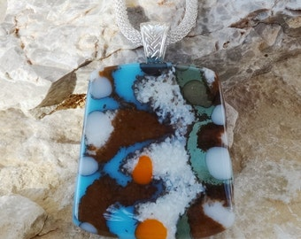 Beach Jewelry, Fused Glass Jewelry, Blue Glass Necklace, Fused Glass Pendant, Southwest Look, Stone Look Glass Pendant  - Seascape