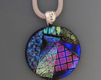 Round Dichroic Glass Statement Pendant, Blue Fused Glass Necklace, Blue Dichroic Pendant, Glass Slide, Round Glass Pendant in Cool Colors